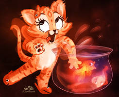 Kitty likes Goldfish by LilaCattis