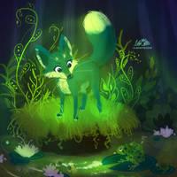 Green Fox by LilaCattis
