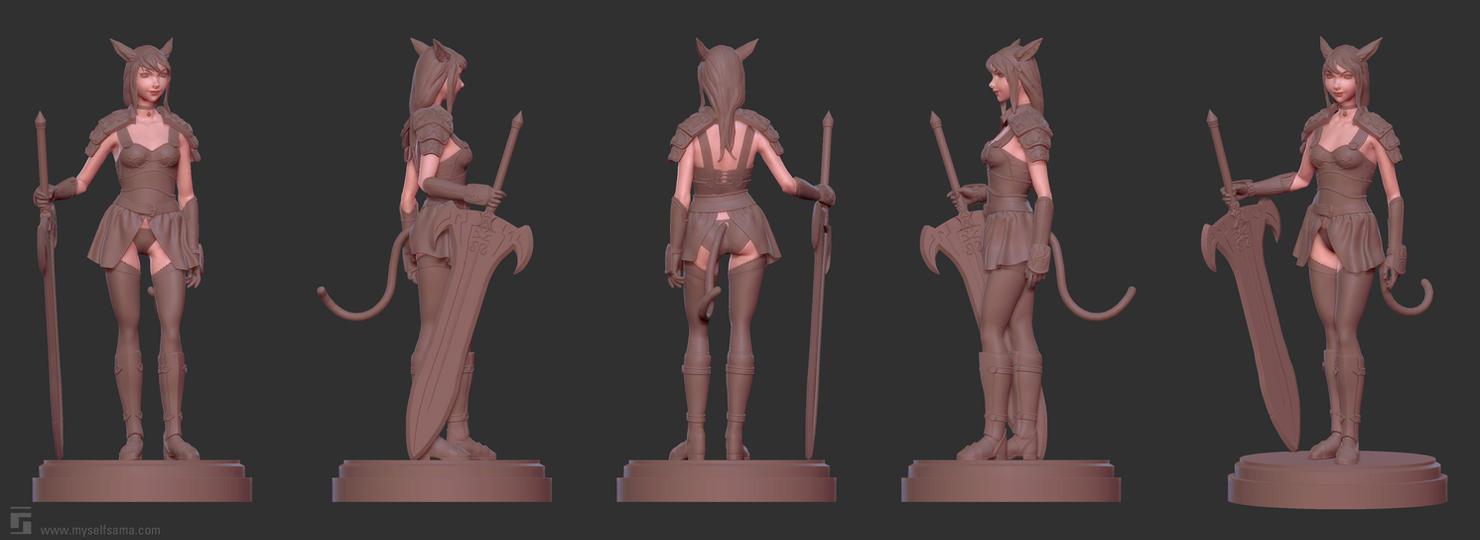 Mithra / Miqo'te Sculpt Flat Turnarounds by Myselfsama