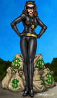 Catwoman and the money by PrimeOp