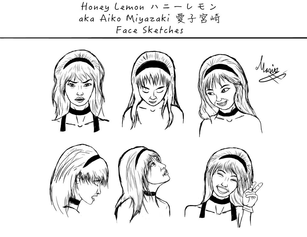 Honey Lemon Face Sketches #1 by eMokid64