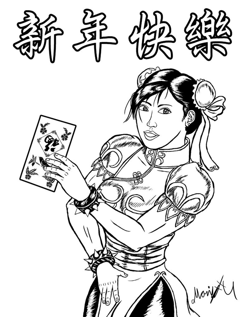 Chun Li Chinese New Year Inked by MarioUComics