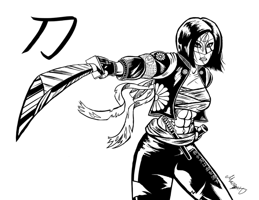 Inked suicide squad 39 s katana by marioucomics on deviantart for Katana coloring page