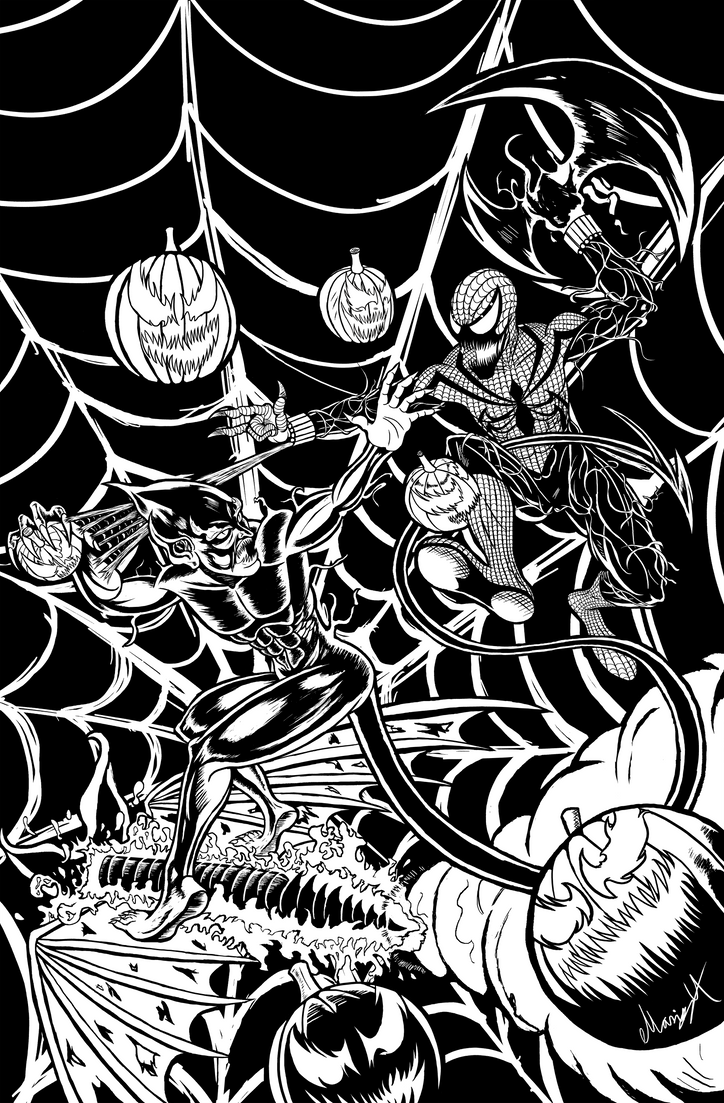 Red Goblin vs Spider-Carnage inked by MarioUComics