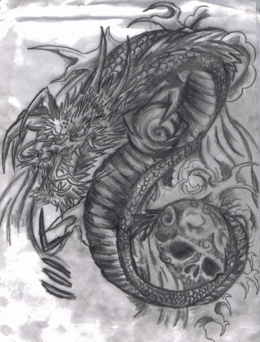 Japanese dragon and sk...