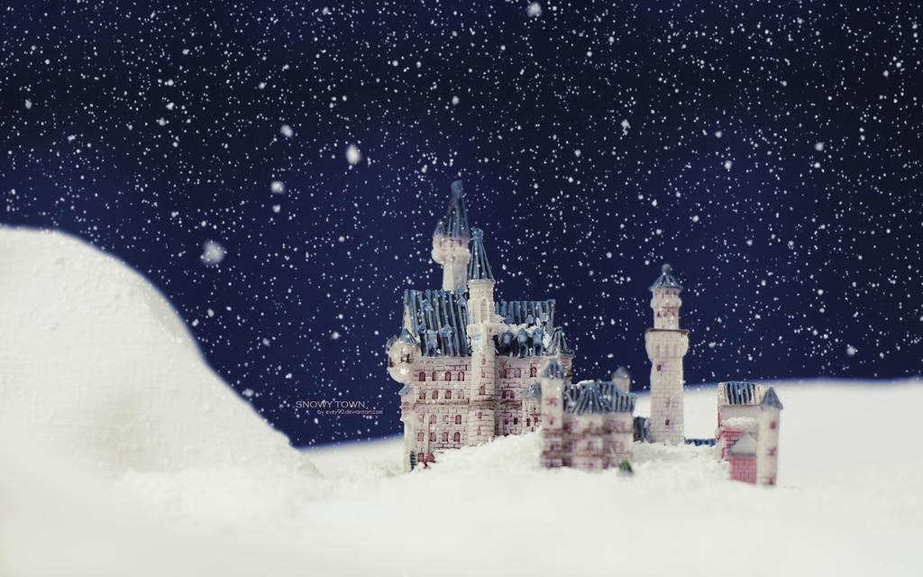Snowy Town Wallpaper by Evey90