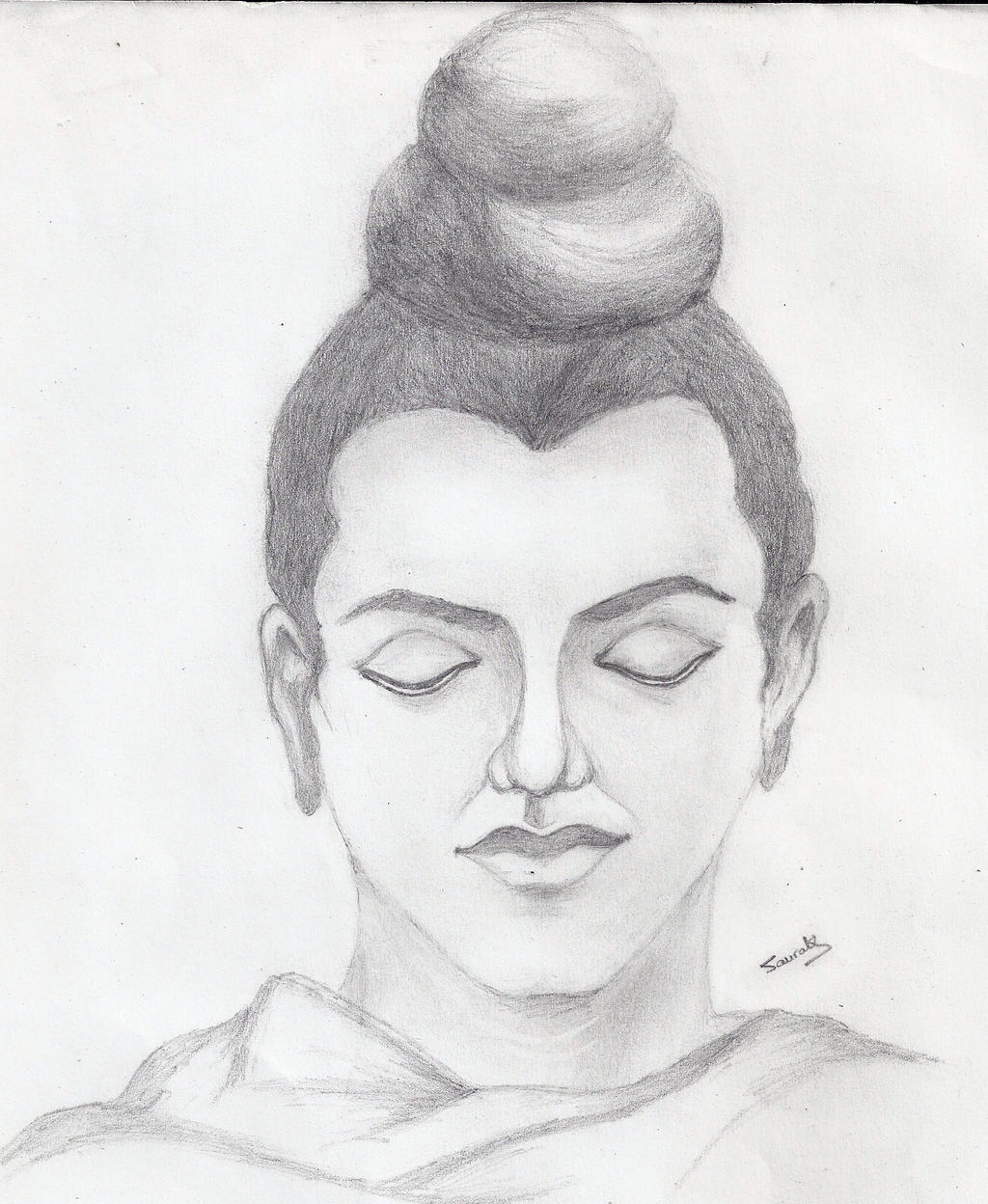 Pencil Sketches Of Gautam Buddha Pencil Sketch