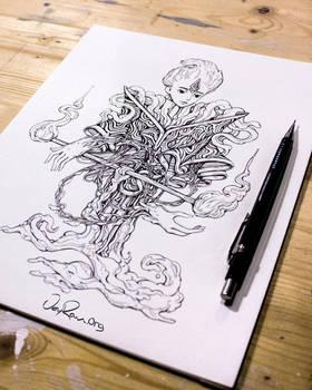 Ink Drawing - Spirit of Libra