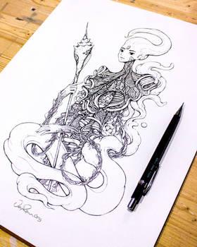 Ink Drawing - Spirit of Scorpio