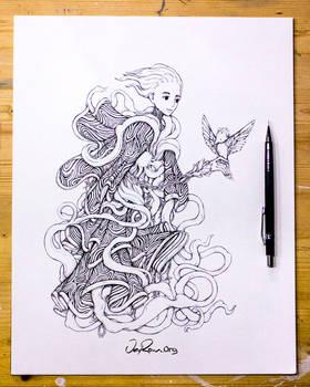The Spirit of Sagittarius - Ink Drawing