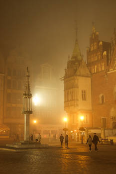 Foggy Wroclaw town square