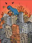 Dinosaur destroying city