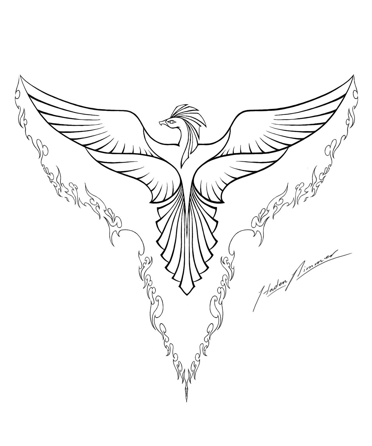 Coloring Lineart : Phoenix lineart by hadenjax on deviantart