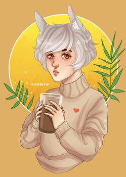 Boy with chocolate milk