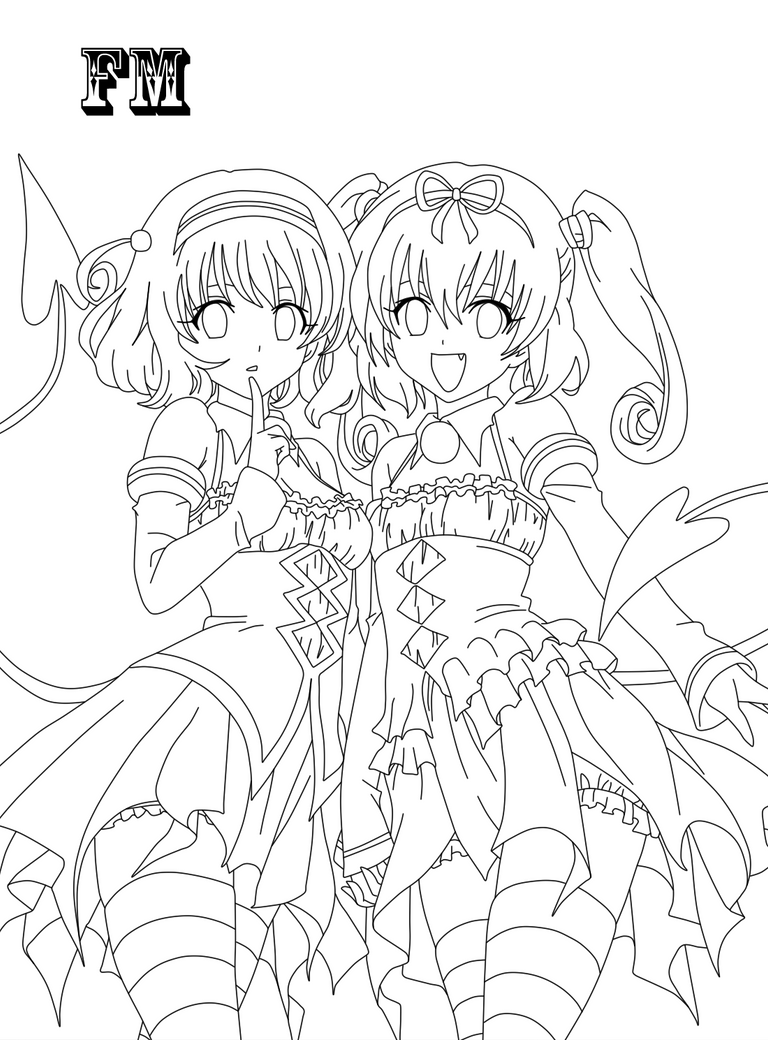 anime sisters coloring pages-#13