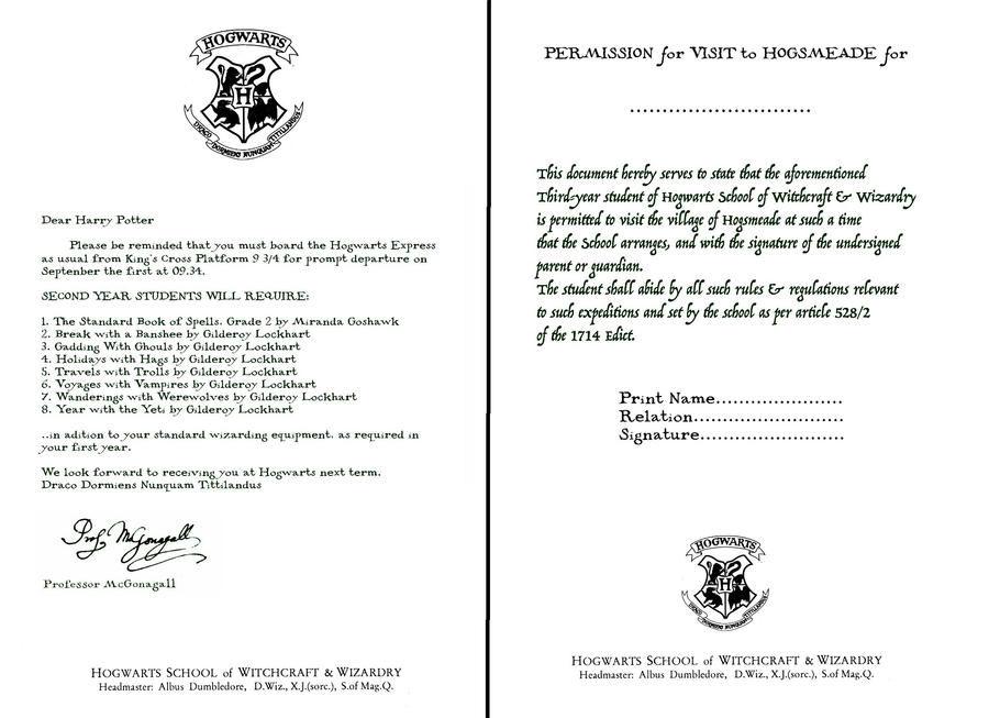 Hogwarts Letters  Second Year And Hogsmeade Form By Decat ...