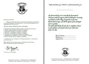 Hogwarts Letters- Second year and Hogsmeade Form