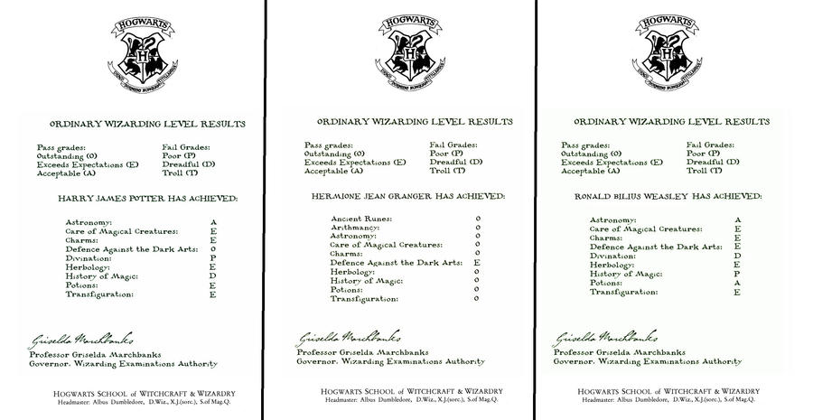 OWL results letters- Harry, Ron and Hermione by decat on DeviantArt