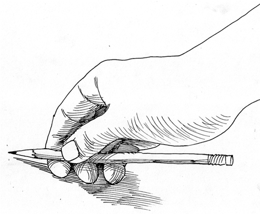 Holding the pencil for Gesture Drawing