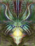 Portrait of a Green Dragon full color drawing