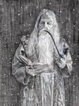 Original Pencil Drawing of Christmas Santa Wizard