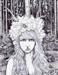 Princess of the Woods pen and ink