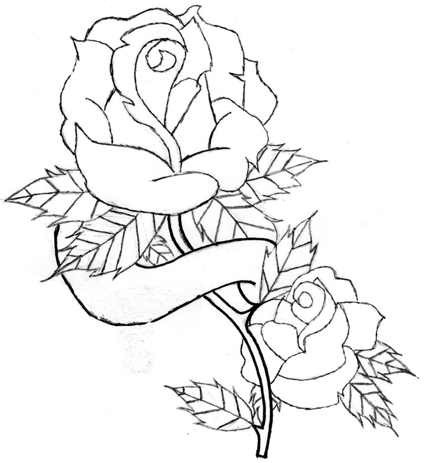 Line Drawing Rose Tattoo : Rose and banner line art by jdd on deviantart