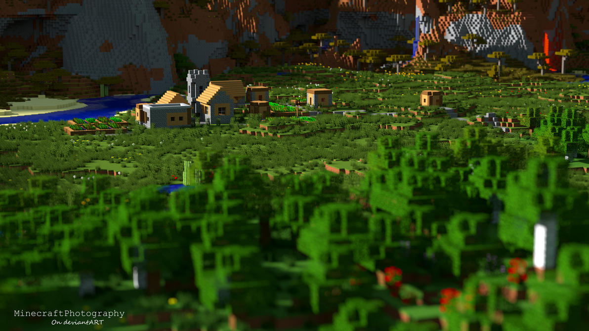 Minecraft | Plains Village (High Res. Wallpaper) by MinecraftPhotography