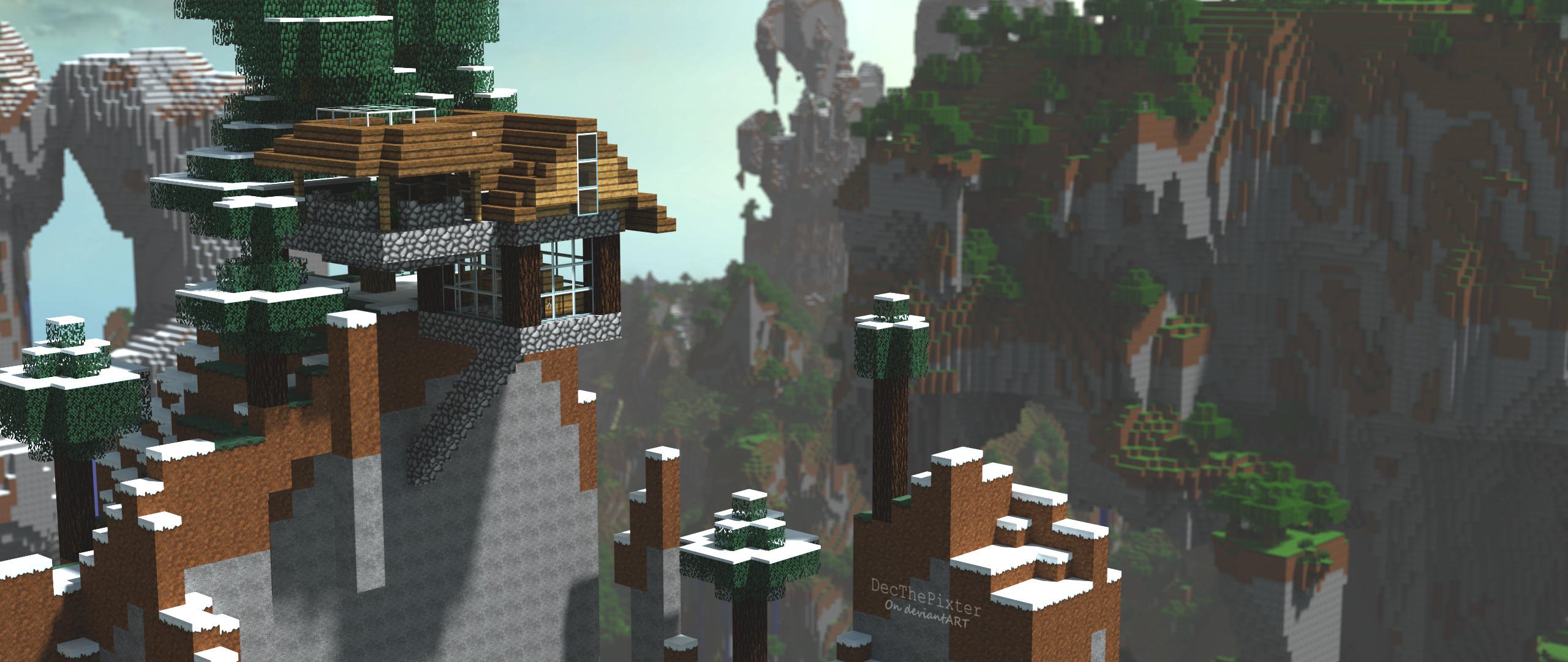 Mountain top home minecraft survival build by for How to build a house in a mountain