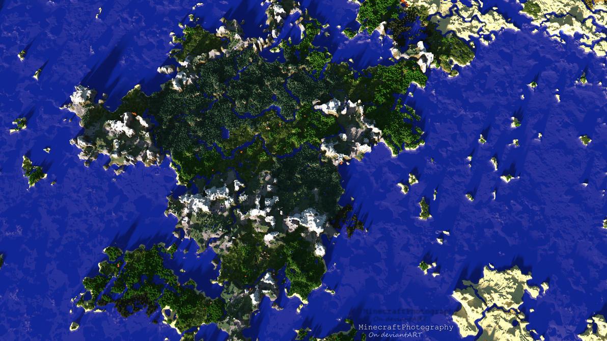 Minecraft | Giant Landmass | Bird's-Eye View by MinecraftPhotography