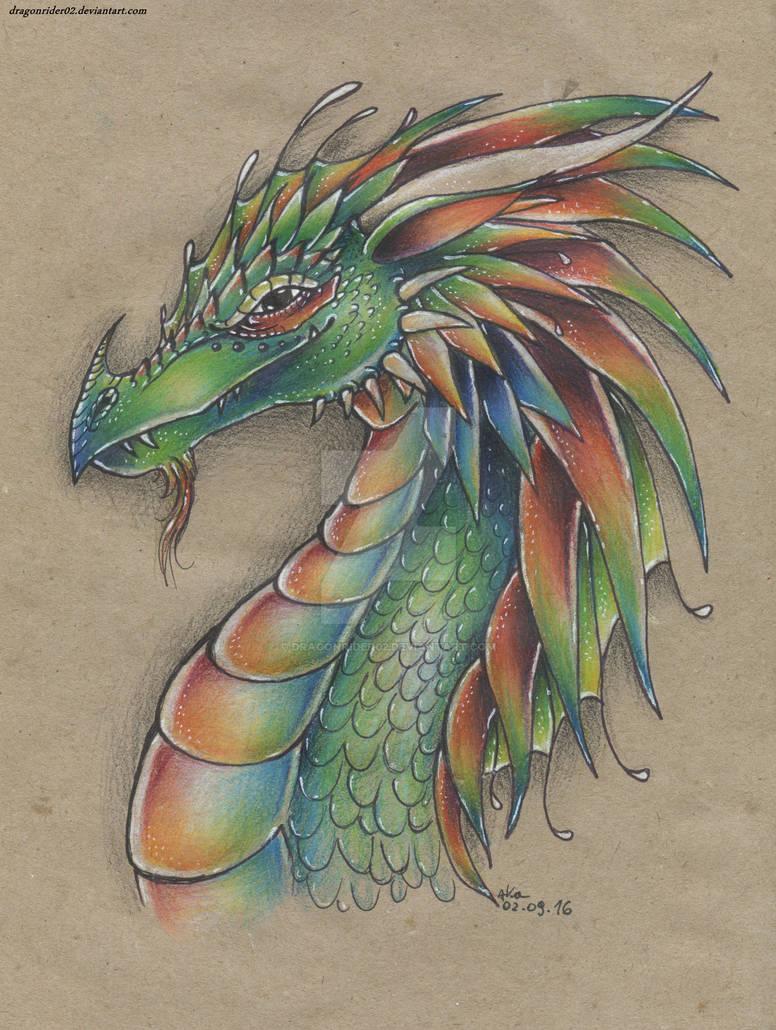 Color Pencil dragon drawing by DragonRider02 on DeviantArt