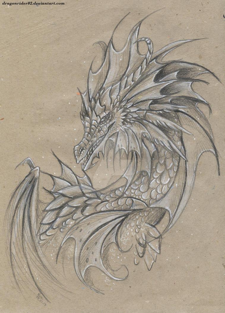 Sea dragon pencil drawing by dragonrider02 on deviantart