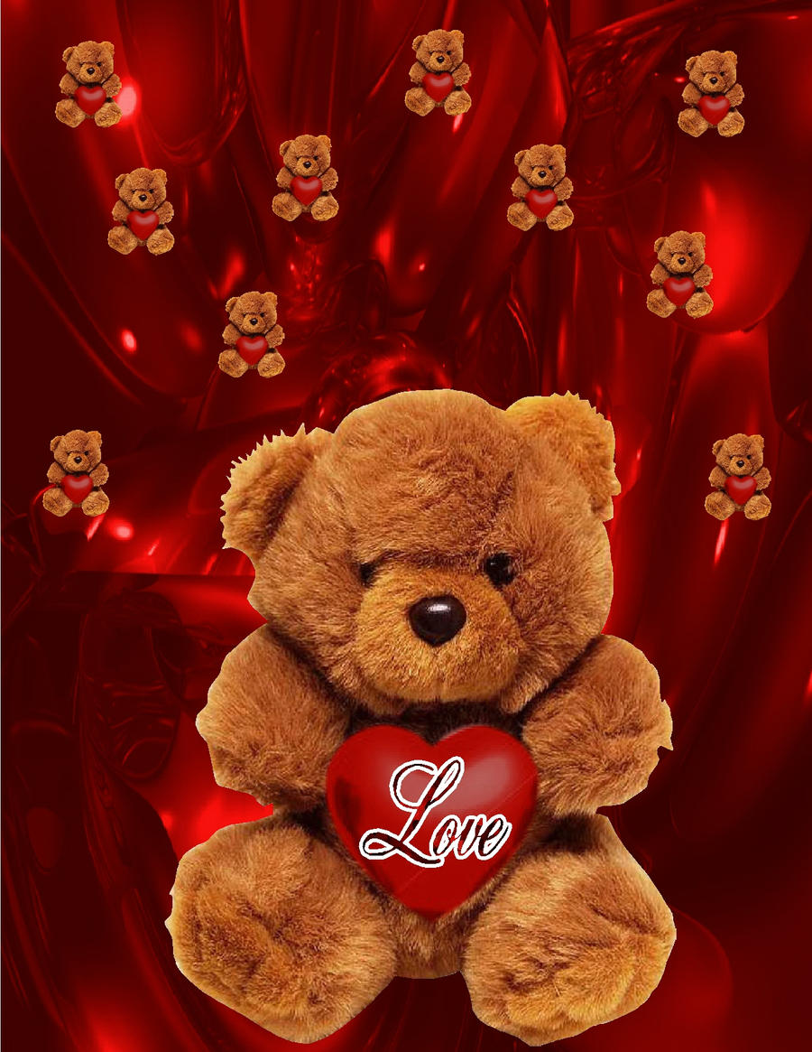 I love u teddy bearwallpaper by huckaberry40 on deviantart i love u teddy bearwallpaper by huckaberry40 voltagebd Images