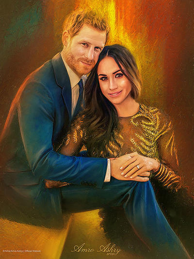 Prince Harry and Meghan by artistamroashry