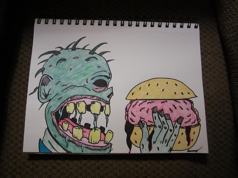 Zombie Eating A Brain Sandwich by SunnyArts