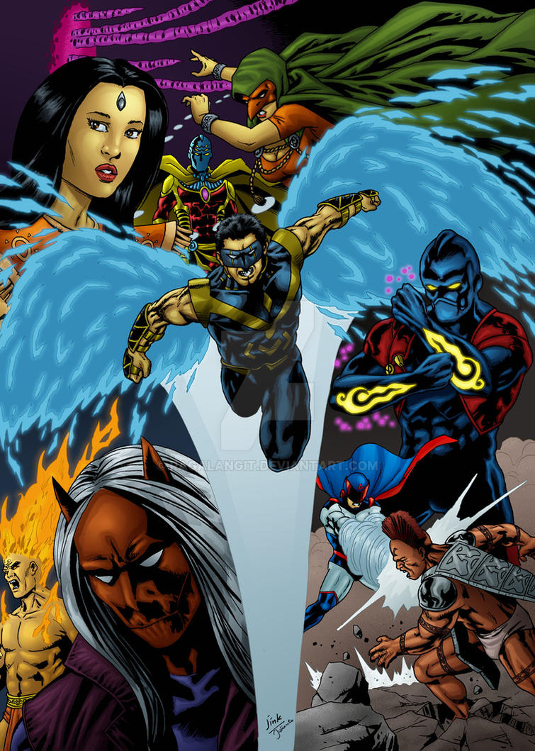 Neo Paradigm Comics characters pinups by RagaLangit