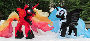 Solar Flare and Nightmare Moon Plushies