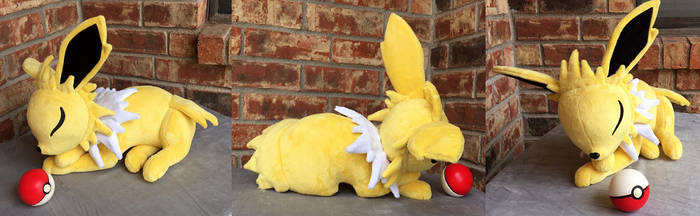 Sleeping Jolteon Plush by The-Crafty-Kaiju