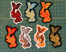Machine-embroidered Koi Patches