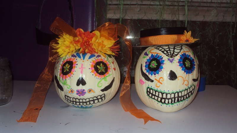 Annette and Frankie Sugar Skull Pumpkins by CosmicGrove on ...