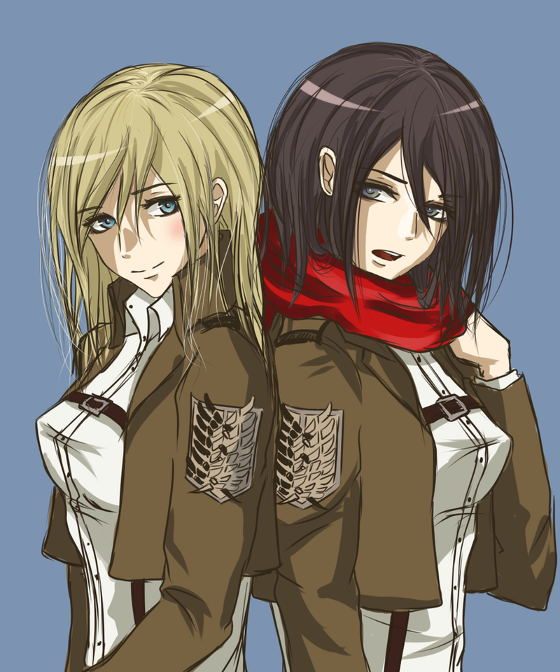 Krista Lenz and Mikasa Ackerman by Taimuaki