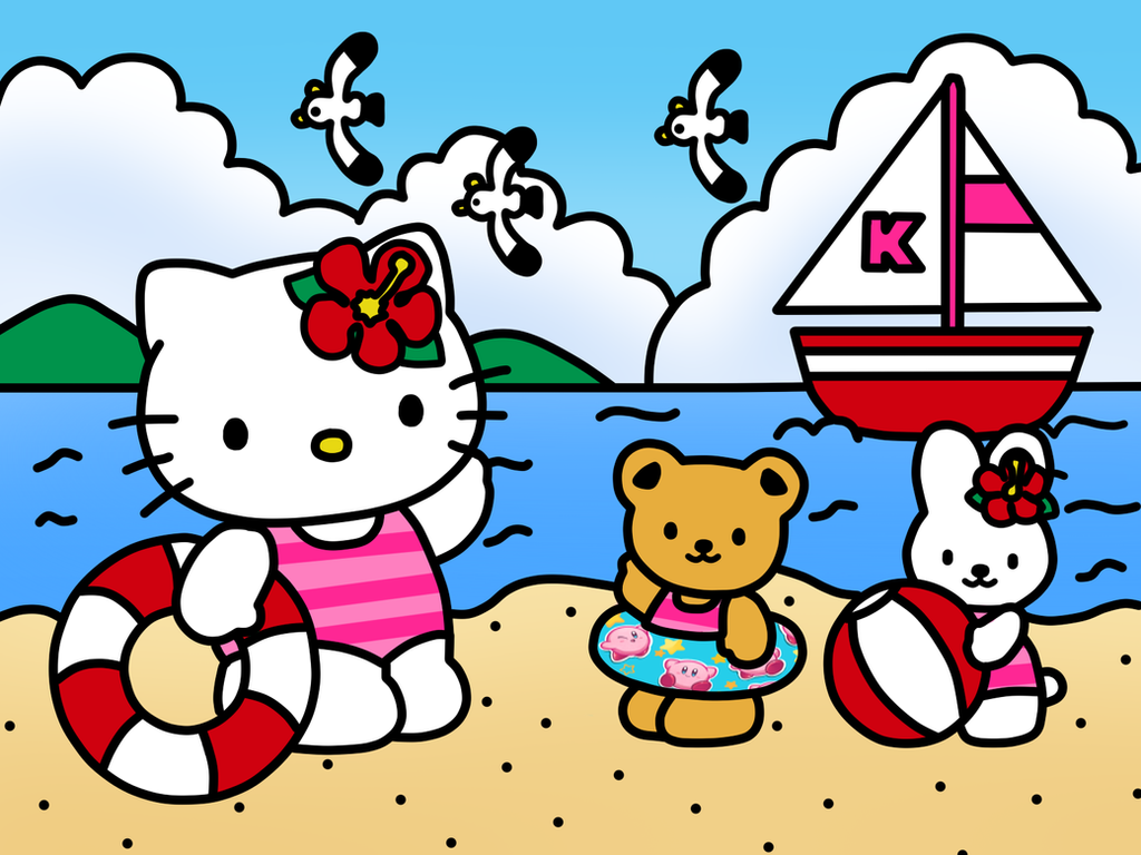 hello kitty go to beach and friend coloring book by kittykun123 on