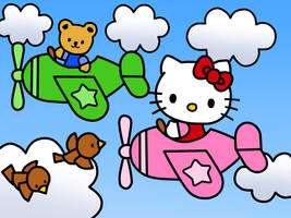 Hello Kitty on a Airplane (Coloring Book)