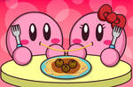 Kirby Eating Spaghetti and Girlfiends