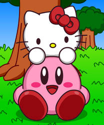Kirby and Hello Kitty by Kittykun123