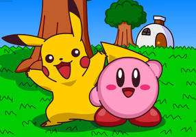 Pikachu and Kirby in Dream Land by Kittykun123