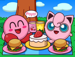 Kirby Eating Food and Jigglypuff by Kittykun123
