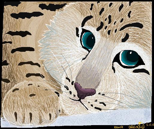 Realistic Snow Leopard by ThatsRawrtasticxD