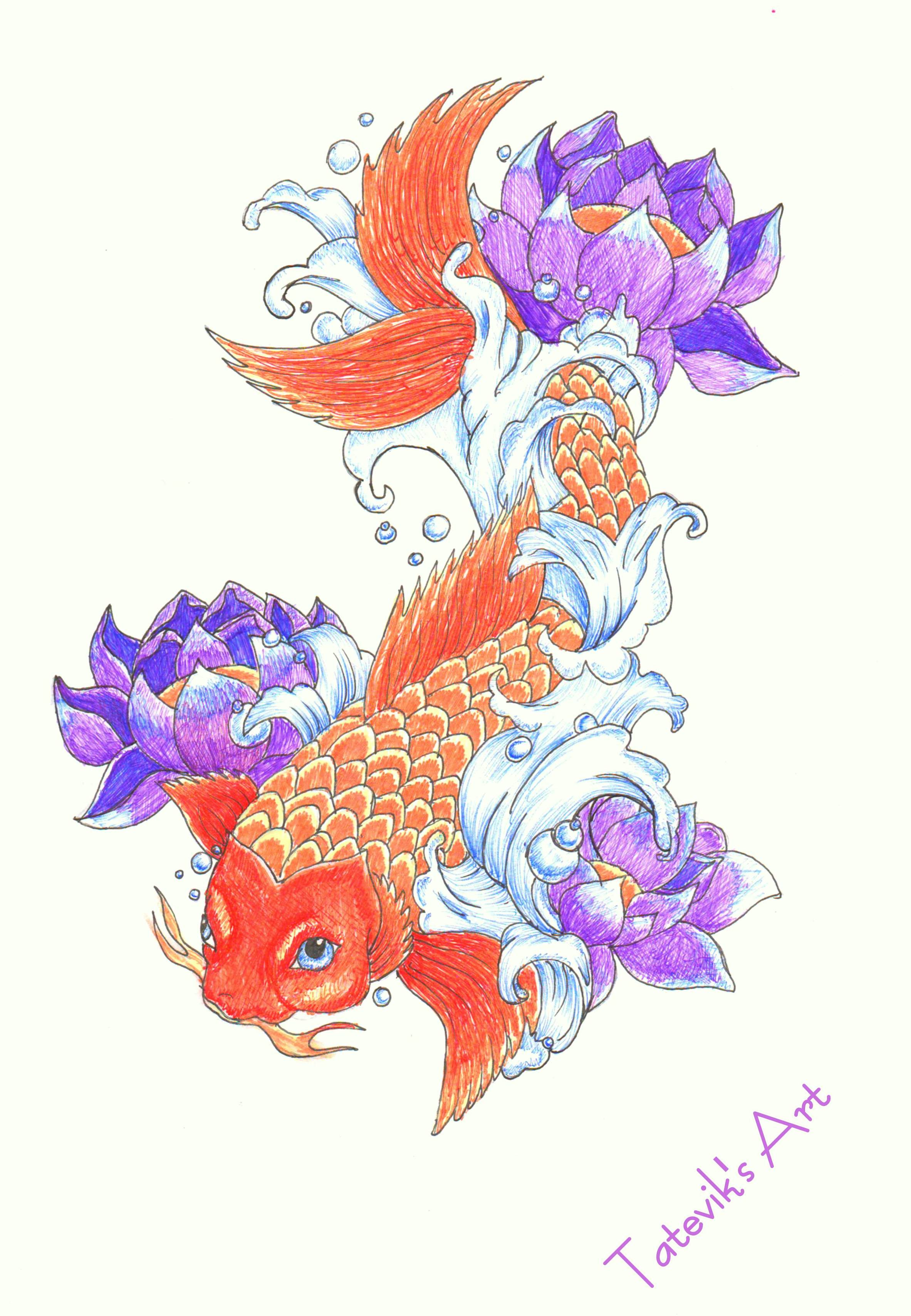 Japanese style, fish, lotus, koi carp by TatevikArt on DeviantArt