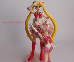 Super Sailormoon and Chibimoon by Naneia